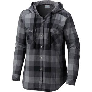 Columbia Times Two Hooded LS Plaid Top Size L NWT